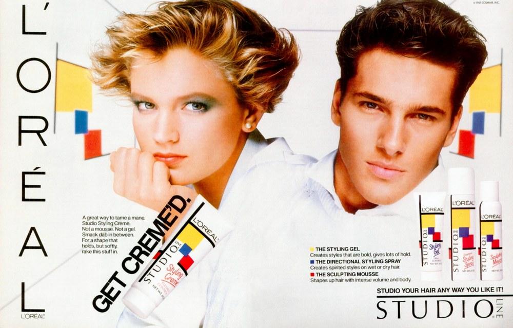 Publicité américaine pour la gamme de gels coiffants Studio Line de L'Oréal, 1986